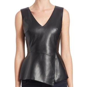 Bailey 44 Gehry Sleeveless Faux Leather Top Black